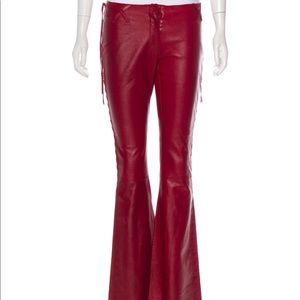 Dolce and Gabbana Red Leather Flair Pants